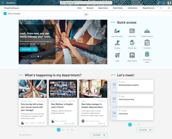 Orion Intranet Home User and Communication focus