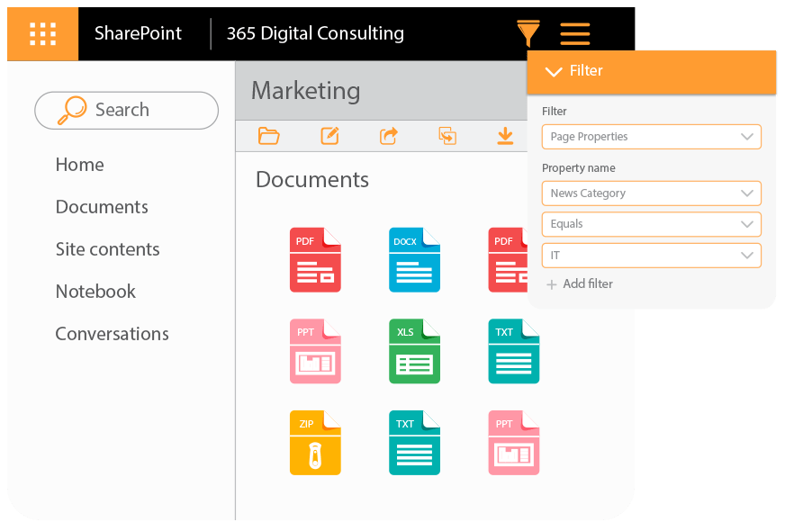 filter feature on SharePoint document library